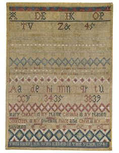 Rare Needlework Sampler, Mary Chicken, Attributed to Elizabeth Hext, Instructress, Goorcreek Charles-town, South Carolina, <p>Dated 1745</p> | lot | Sotheby's