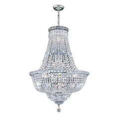 French Empire Collection 15-light Chrome Finish and Clear Crystal 22 x 31-inch Chandelier