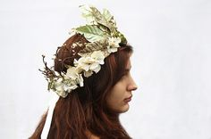 Woodland Fairy Crown  Soft Emerald and Gold by BloomDesignStudio, $92.00
