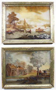 "A Rare Pair of Flemish 18th Century ""Verre Églomisé"" Reverse Glass Paintings, each depicting riverfront scenes with figures, fishermen castles, cottages, tall-ships, sailboat, sheep and trees in the background. Framed with their original gilt wood frame. Circa: 1780-1790. Verre Églomisé is a French term referring to the process of applying both a design and gilding onto the rear face of glass to produce a mirror finish. The name is derived from the 18th-century French decorator and ..."