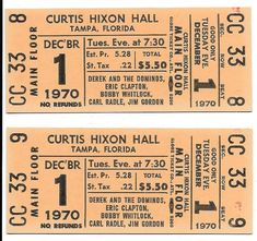 Derek & The Dominos Concert Ticket Curtis Hall, Second Live, Piece Of Music, Concert Tickets, Eric Clapton, The Fool, Amp, The Originals