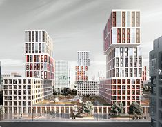 Cheryomushic By Karetina Katerina  Architecture Building Design, Building Facade, Facade Design, Aesthetic Art, Aesthetic Pictures, High Rise Apartments, Residential Complex, High Rise Building, Skyscraper