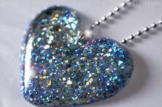 Jewelry Resin Glitter Heart Necklace Silver Blue by isewcute #glitter