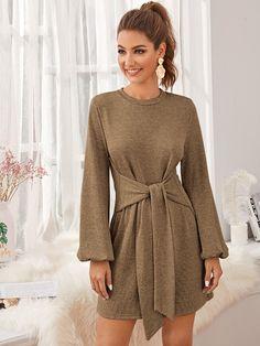 Modest Dresses, Casual Dresses, Short Dresses, Fashion Dresses, Glamorous Dresses, Beautiful Dresses, Front Knot Dress, Dresses Online Australia, Khaki Dress