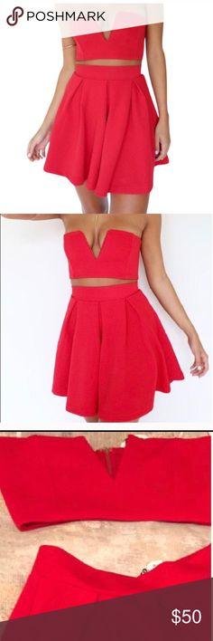 Gorgeous Sabo Skirt Two piece set Beautiful and sexy Sabo Skirt two piece set in a cherry red color. Sold out online and adorable, got from another posher but didn't fit 💔 size small. Brand new with tags. Sabo Skirt Dresses Mini