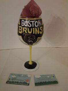 Boston Bruins custom painted wine glass! https://www.facebook.com/buggybeandesigns