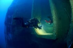 Technical and Scuba diving on the Zenobia in Larnaca Cyprus . Dive-In Larnaca entering the hold of Zenobia below the Bone Lorry