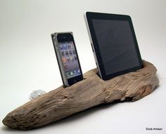 Beach Driftwood iPhone Dock & iPad Stand. $200.00, via Etsy. Well this is neat