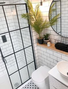 44 Creative Storage Ideas to Organize Your Small Bathroom - The Trending House Small Bathroom With Shower, Loft Bathroom, Upstairs Bathrooms, Bathroom Design Small, Bathroom Layout, Bathroom Interior Design, White Bathroom Wall Tiles, Bathroom Shower Tiles, White Tiles Black Grout