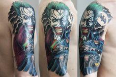 Batman & The Joker in a great tattoo. I'm in love