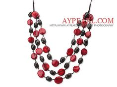 2013 Summer New Design Multi Layer Red Coral and Natural Smoky Quartz Necklace