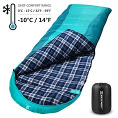 for Hiking CAMEL CROWN Oversize Adult All Season Sleeping Bag with Removable Cotton Flannel Liner and Pillow Mountaineering Outdoors Compression Sack
