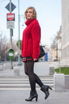winter street style with a warm cozy knitted sweater