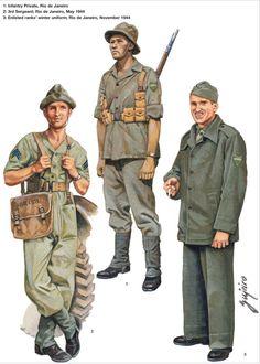 BEF (Brazilian Expeditionary Force) - 1 - Private, Rio de Janeiro - 2 - £rd Sergeant, Rio 1944 - 3 Coscritto con uniforme invernale, Rio, 1944