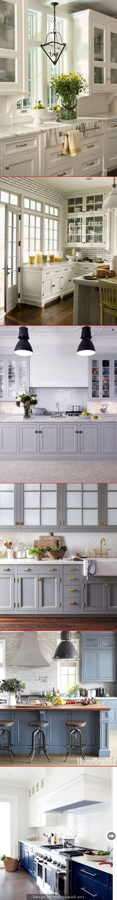 Kitchen Palettes. 1. White kitchen, white subway tile, Calcutta marble counters…