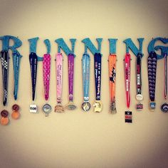 Athletic & Race Medal Hanger Wood Letters RUN by GloriPearlDesigns, for any sport or award winning activity that has medals Craft Projects, Projects To Try, Craft Ideas, Project Ideas, Keep Running, Running Signs, Running Quotes, Running Motivation, Trail Running
