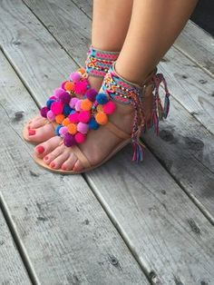 Items similar to Bohemian Pom Pom Sandals '' Kizzie ', Gladiator Sandals, Strappy Sandals, Fashion Trendy on Etsy Boho Sandals, Bare Foot Sandals, Strappy Sandals, Gladiator Sandals, Shoes Sandals, Greek Sandals, Cute Shoes, Me Too Shoes, Diy Fashion