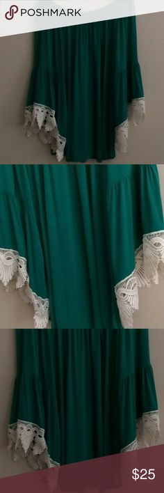 Emerald Green Lace Sleeve Border Top Emerald green lace border and bell sleeve top. Tops Tees - Long Sleeve