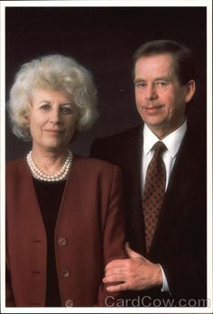 Continental Chrome Postcard President of the Czech Republic Vaclav Havel and Wife Olgou Presidents Mother Family, Cultural Diversity, Influential People, History Class, My Heritage, Soviet Union, Powerful Women, Czech Republic, Prague