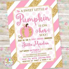 Items similar to a little pumpkin is on her way - fall girl baby shower invitation - rustic pink and gold fall baby girl shower - fall baby sprinkle _ 2002 on Etsy Otoño Baby Shower, Baby Shower Vintage, Floral Baby Shower, Baby Shower Balloons, Girl Shower, October Baby Showers, Gold Baby Showers, Printable Baby Shower Invitations, Baby Shower Printables