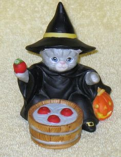 Rare Vintage Kitty Cucumber Halloween Witch Figurine bobbing for apples, 1987 in Collectibles, Animals, Cats | eBay