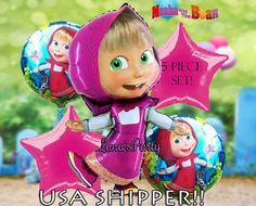 Set of 5 Masha and the Bear Happy Birthday Party by LanasParty