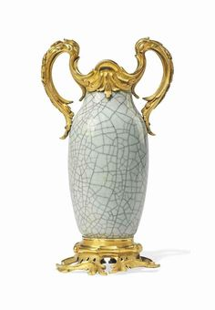 A LOUIS XV ORMOLU-MOUNTED CHINESE CRACKLED-GLAZED CELADON PO
