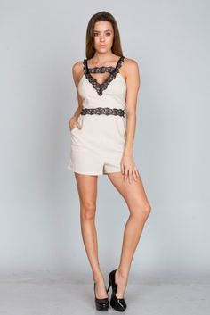 http://www.salediem.com/shop-by-collection/rompers/rompers-2130.html LACE TIPPED ROMPER #salediem #fashion #bottoms  #rompers #jumpsuits #curvey