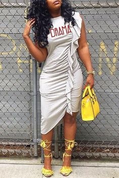 Lovely Casual Ruffle Design Asymmetrical Grey Knee Length Dress(With Elastic) Cute Dress Outfits, Cute Dresses, Dresses For Work, Green Long Sleeve Dress, Gray Dress, Fashion Pants, Fashion Dresses, Thick Girl Fashion, T Shirt World