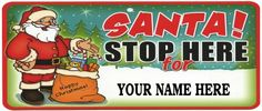 Personalized Christmas Holiday Santa Stop Here Metal Sign for sale online Christmas Store, Christmas Wood, Scandinavian Christmas, Christmas Signs, Christmas Holidays, Christmas Ideas, Monogram Signs, Personalized Signs, Santa Stop Here Sign