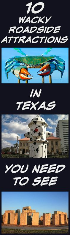 10 Wacky Roadside Attractions to See in Texas! The Lone Star State is full of the unusual and the odd, best shown off by the many wacky roadside attractions in Texas. This list will get you started on your path to the weird side of Texas. Texas Vacations, Texas Roadtrip, Texas Travel, Vacation Trips, Travel Usa, Day Trips, Family Vacations, Vacation Ideas, Cruise Vacation