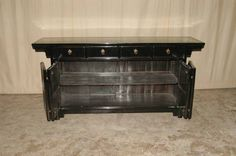Fine Black Lacquer Sideboard   From a unique collection of antique and modern sideboards at https://www.1stdibs.com/furniture/storage-case-pieces/sideboards/