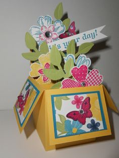 It's Your Day! Card in a Box (new size) -  Linda Creech, Another Card in a Box using the new size pattern. Original idea from Tanya Bell.