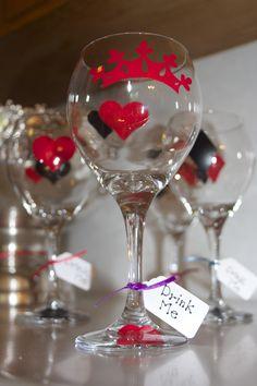 Alice in Wonderland themed bridal shower wine glasses.