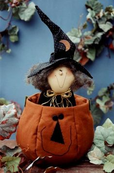 Fontella witch in pumpkin DIY if you can sew and make your own pattern, or easier to buy it. So cute.