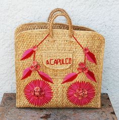 Large Mexican Woven Basket  Embroidered Acapulco by MysticLily