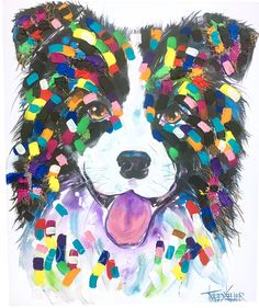 """""""OMG Jean and Tracey! I sooo love it. It's just her cheeky face and smile. Made me cry. My poor baby passed away Sunday so this was perfectly timed. Thank you!"""" Jo TRACEY KELLER  PET PORTRAIT - LEXI Acrylic, Hessian, Resin on canvas 50cm x 60cm SOLD"""