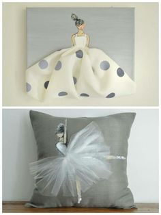 shenasiconcept Custom designed canvas & cushioncover for little girls room, nursery, or babyshower!Love the ballerina pillowCara and lilahs roomPaint and fabric pillow (+) decor with tulleDo with an Elsa silhouette Diy Pillows, Decorative Pillows, Cushions, Little Girl Rooms, Little Girls, Craft Projects, Sewing Projects, Diy And Crafts, Arts And Crafts
