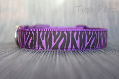 Purple Zebra Dog Collar - Adjustable Collar - Many Sizes Available! by TopPetz on Etsy