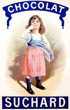 Chocolat Suchard by Imp. Champenoi 1900 France - Vintage Posters Reproductions. This french culinary / food poster features a child in a blue and pink dress with her hand to her mouth holding a box of candy. Giclee Advertising Print. Classic Posters