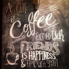 Chalk wall art // Coffee quote