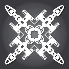 This are Anthony Herrera's 2013 designs for Star Wars paper snowflakes. You may recall his 2011 designs from this article. Apparently I missed his 2012 ones, but I included them in this post so we're all caught up. Paper Snowflake Designs, Paper Snowflake Template, Snowflake Pattern, Origami Templates, Box Templates, Star Wars Snowflakes, Paper Snowflakes, Star Wars Crafts, Geek Crafts