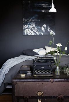 love the typewriter as well as my favourite colour combinations of black, white and grey.