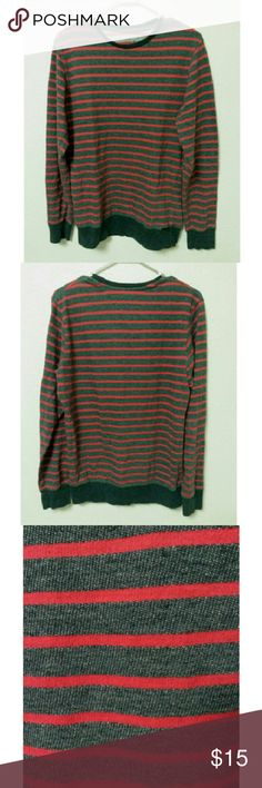 Striped Long Sleeve T-shirt Grey and red striped long sleeve t-shirt. All prices are negotiable. on the byas Shirts Tees - Long Sleeve