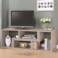 Shop for Grey Driftwood Convertible TV Console/Bookcase starting at at our furniture store located at 4553 Lincoln Hwy, Matteson, IL 60443 Space Furniture, Living Room Furniture, Furniture Design, Dining Rooms, Bookcase Tv Stand, Convertible, Walnut Bookcase, Tv Board, Coaster Fine Furniture