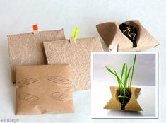 This Germoir concept by Catherine Bourdon employs a zero waste packaging system for plants. Basically this small paper made pouch contains a small amount of soil and some seeds. It's packaged in a way that makes it perfect for a gift, or something you c