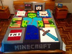 Minecraft quilting para Dany . reversible.