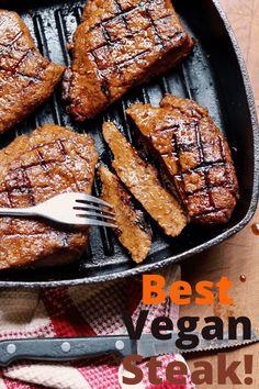 Vegetarian Meat Recipe, Vegan Steak Recipe, Vegan Dinner Recipes, Steak Recipes, Cooking Recipes, Grilled Vegan Recipes, Burger Recipes, Gluten Free Seitan Recipe, Veggie Meat Recipes