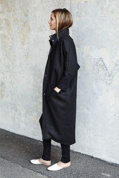 Cocoon Coat - Jet Linen