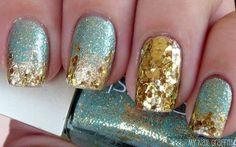 aqua and gold nails - Google Search